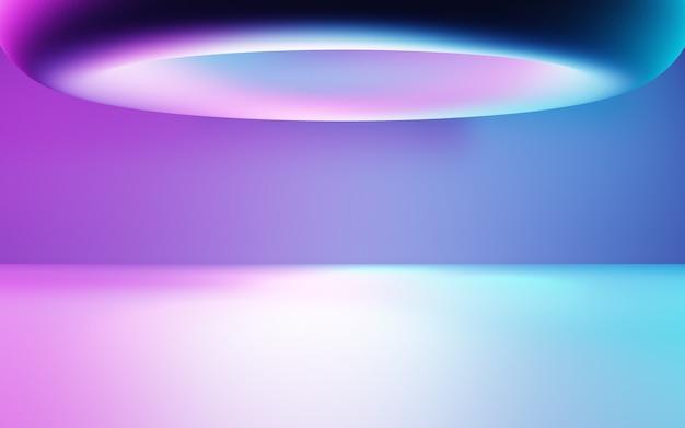 3d-rendering von lila und blauem abstraktem geometrischem hintergrund cyberpunk-konzeptwerbung