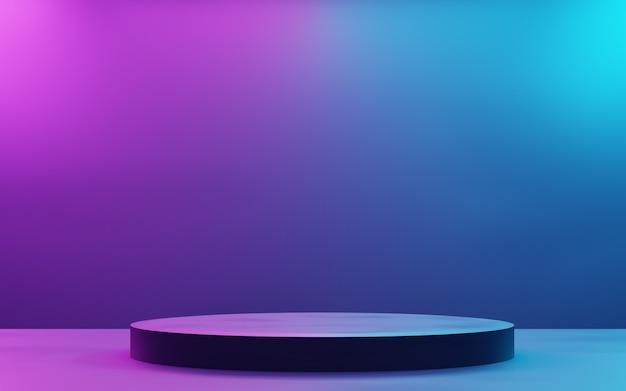 3d-rendering von lila und blauen abstrakten geometrischen hintergrund cyberpunk-konzept für werbung verwenden