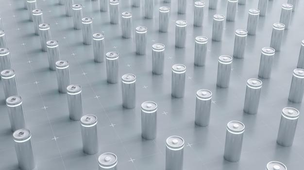 3d-rendering von lithium-ionen-batterien in der fabrik, li-ionen-batterien liefern fertigungslinie für das konzept von elektrofahrzeugen (ev), hintergrund für die illustration der industriefahrzeugtechnologie