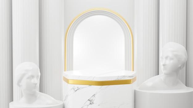 3d-rendering von marmorpodest und römischer architektur für produktanzeige