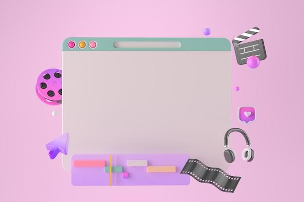 3d-rendering von minimaler website und cursor.