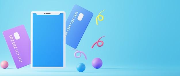 3d-rendering von mobil- und kreditkarten