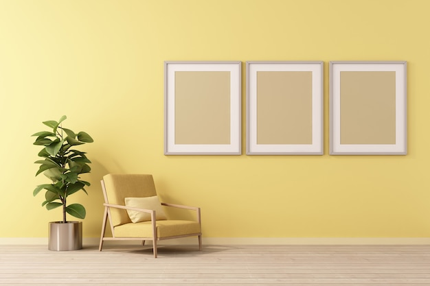 3d-rendering von mock-up innenarchitektur für wohnzimmer mit bilderrahmen an gelber wand