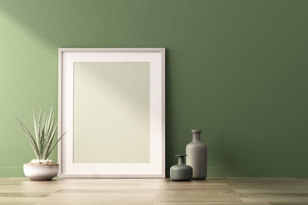 3d-rendering von mock-up innenarchitektur für wohnzimmer mit bilderrahmen an grüner wand