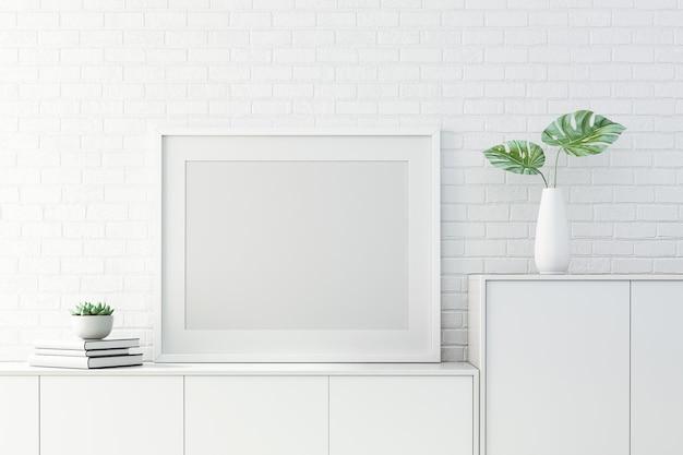 3d-rendering von mock-up innenarchitektur für wohnzimmer mit bilderrahmen auf weißer wand