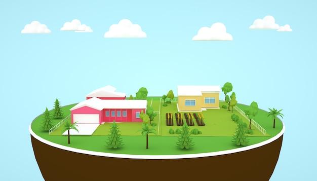 3d-rendering von natürlichen wohngebäuden über dem boden