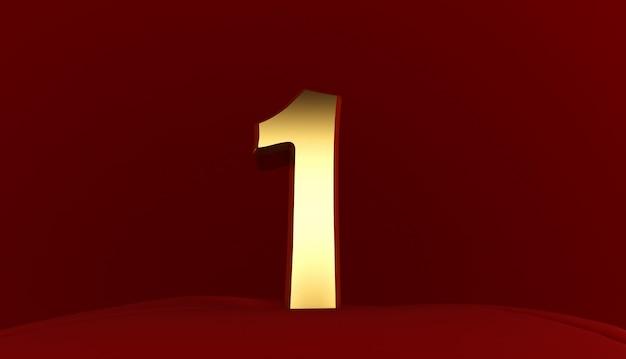 3d-rendering von nummer 1, goldmetall nummer eins, 3d-text,
