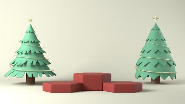3d-rendering von podien mit weihnachtsschmuck