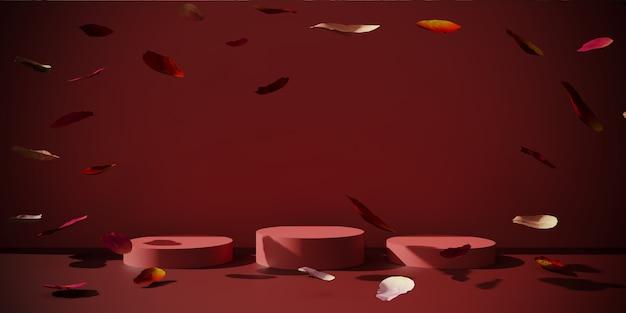 3d-rendering von podium, stehen mit rosenblättern.