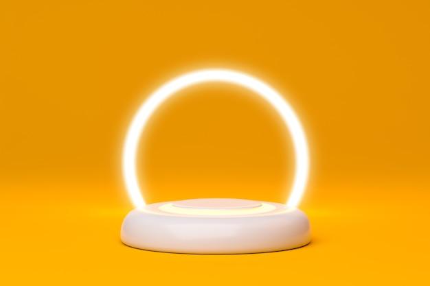3d-rendering von podium und lichtkreis