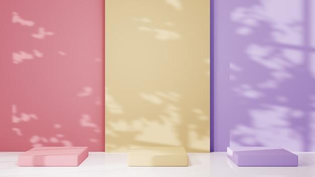 3d-rendering von podium zur anzeige der dekorationen der hautcremekosmetik. mockup-hintergrund für showprodukt.