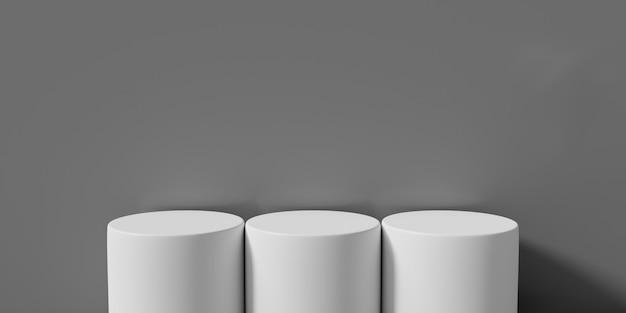 3d-rendering von podiumsständer, leeres produkt, sockel. tabelle weiß auf grauem hintergrund isoliert.