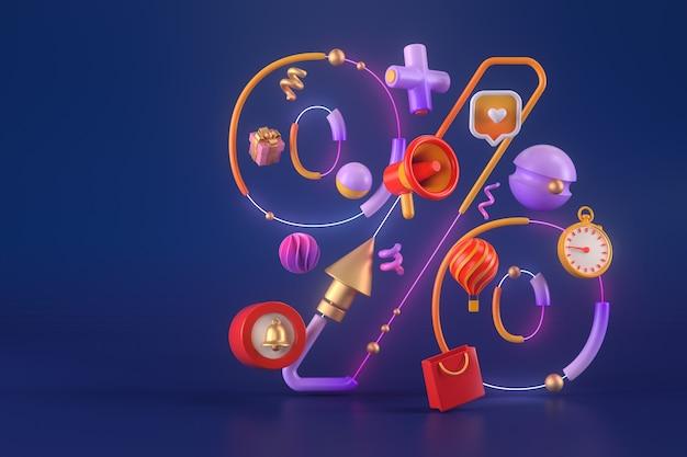 3d-rendering von prozent mit verschiedenen objekten