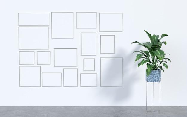 3d-rendering von rahmen und pflanze.
