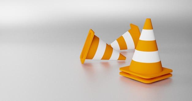 3d-rendering von realistischen verkehrskegeln. satz orange straßenkegel mit weißen streifen. 3d-rendering