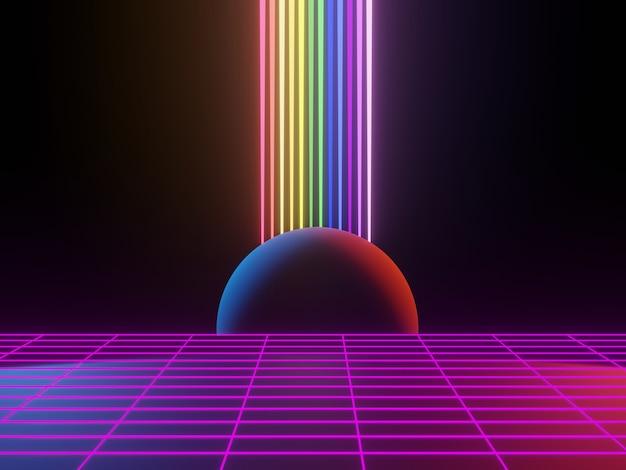 3d-rendering von rgb-neonlicht auf dunklem hintergrund abstrakte laserlinien zeigen nachts