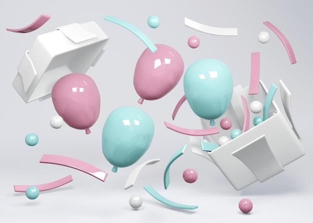 3d-rendering von rosa und blauen ballons, die aus dem geschenk auf dem hintergrundkonzept der gender-enthüllung schweben