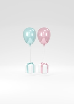 3d-rendering von rosa und blauen ballons mit geschenkbox, die auf dem hintergrundkonzept der geschlechterenthüllung schwimmt