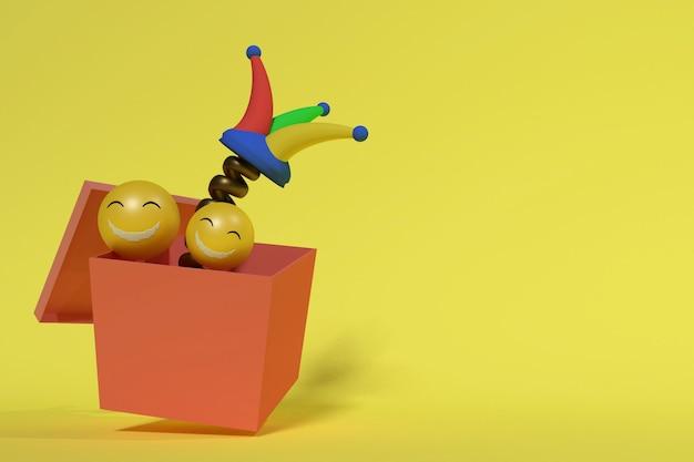 3d-rendering von scherzbox- und lächeln-emoticons für den aprilscherz