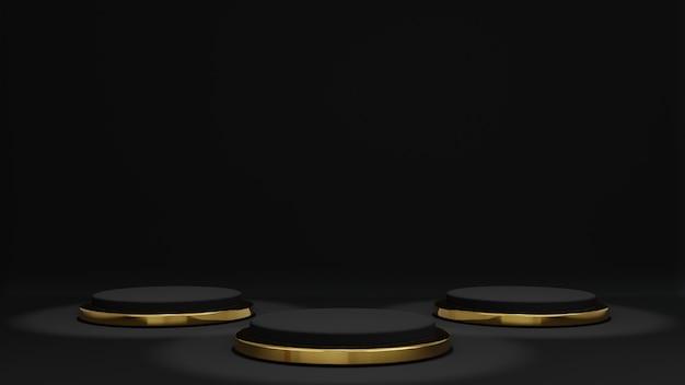 3d-rendering von schwarz und produktpodest stehen mit goldring unten