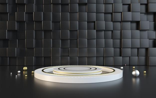 3d-rendering von schwarzen geometrischen mit weißem podium für produktanzeige