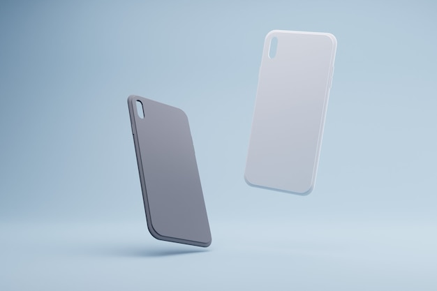 3d-rendering von schwarzweiss-telefonhüllen