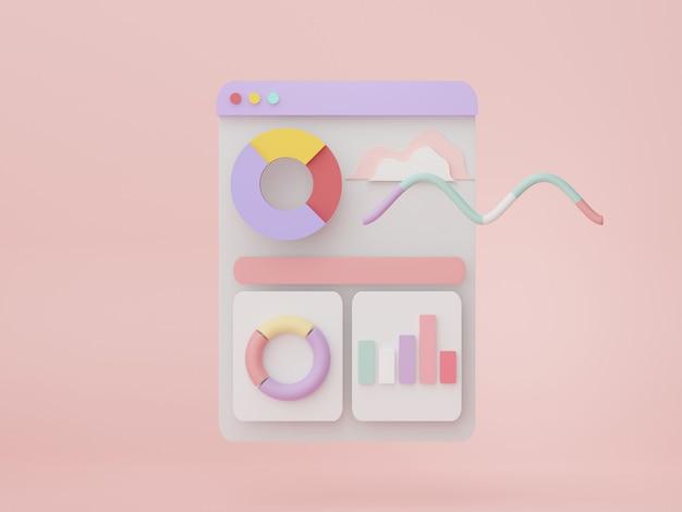 3d-rendering von seo-daten zu einem geschäftsdiagramm der analytics-benutzeroberfläche für die zukünftige planung