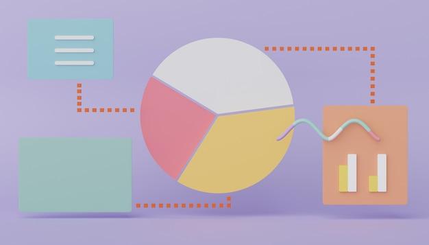 3d-rendering von seo-kreisdiagrammdaten zu einem geschäftsdiagramm der analysebenutzeroberfläche für die zukünftige planung