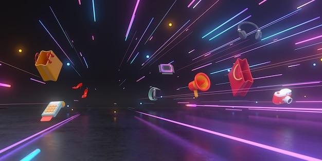 3d-rendering von shopping-produkten und neonlichtern in einem futuristischen tunnel