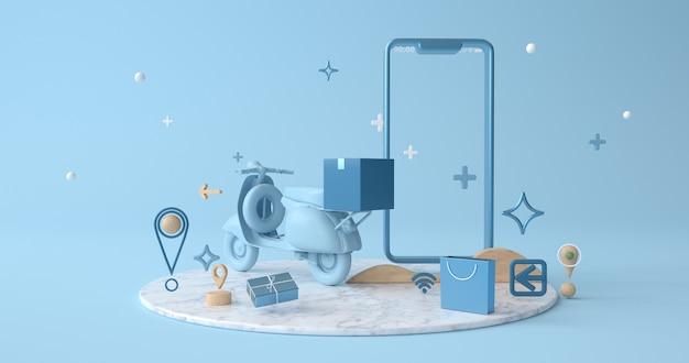 3d-rendering von smartphone und motorrad.
