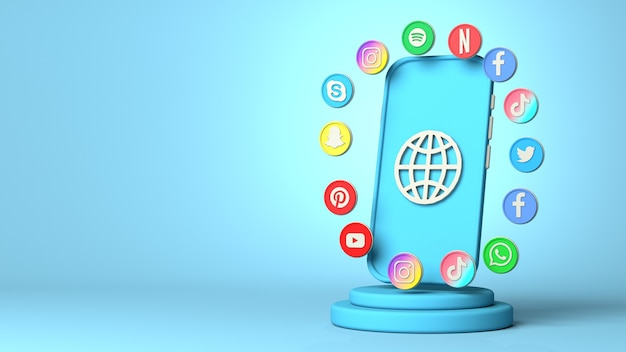 3d-rendering von social media mit textfreiraum