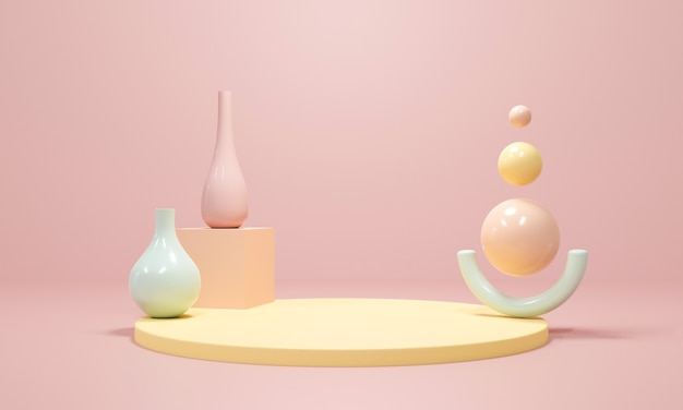 3d-rendering von vasentopf und bühnenpodest auf pastellfarbenem hintergrund abstrakt.