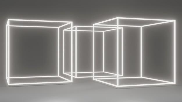 3d-rendering von weißen abstrakten geometrischen quadratischen led-leuchten