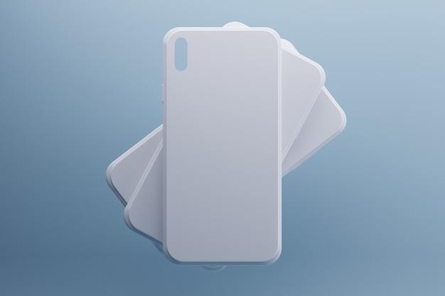 3d-rendering von weißen telefonhüllen