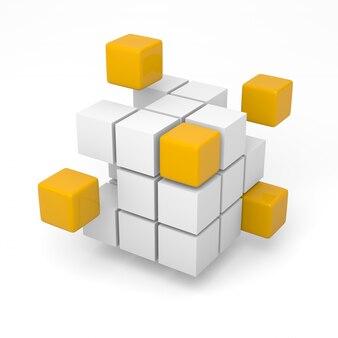 3d-rendering von würfeln, die zusammengefügt werden