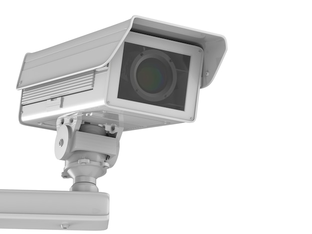 3d-rendering weiße cctv-kamera oder überwachungskamera isoliert auf weiß