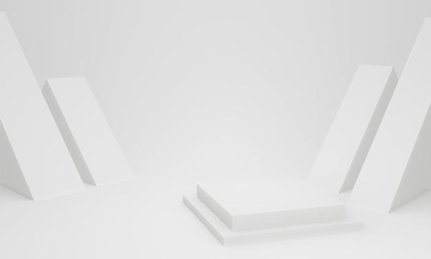 3d-rendering. weiße geometrische bühne.