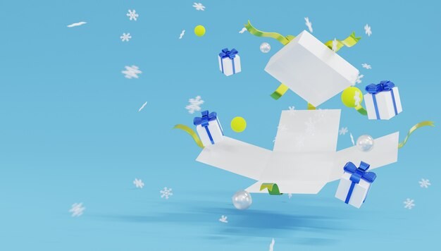 3d-rendering weiße geschenkbox mit gelbem band explodieren und schneeflocken auf blauem hintergrund.