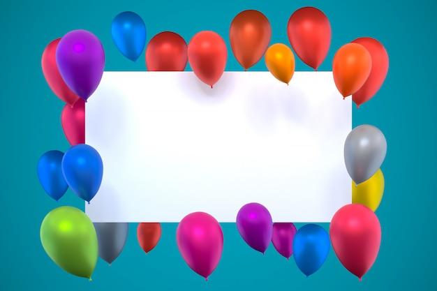3d-rendering, weiße karte mit mehrfarbigen aufblasbaren luftballons auf grünem blauem hintergrund, geburtstagsfotorahmen mit farbballon, leerer kopienraum für partei, werbebanner der sozialen medien, plakate