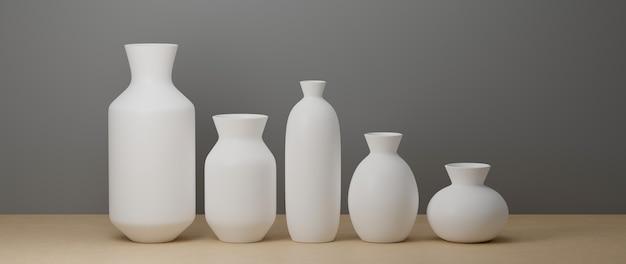 3d-rendering, weiße minimale keramikvasen und topf auf weißem hintergrund und holzboden mit kopierraum, 3d-illustration, hauptdekoration