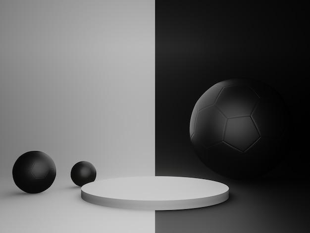 3d-rendering weißer stand und schwarzer kugelhintergrund