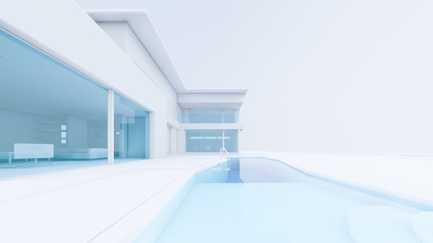 3d-rendering weißes haus mit swimmingpool-illustration