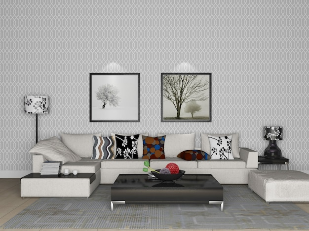 3d-rendering-wohnzimmer mit innenarchitektur des weißen sofas
