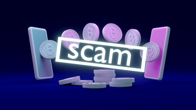 3d-rendering-wortbetrug vor telefonen, die münzen mit bitcoin-symbol übertragen