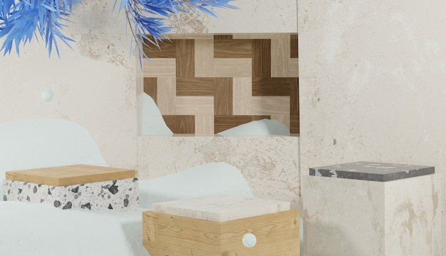 3d-rendering würfelförmiges podium mit schneewinterthema bedeckt