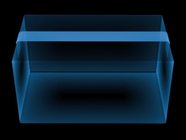 3d-rendering x-ray-karton isoliert auf schwarz