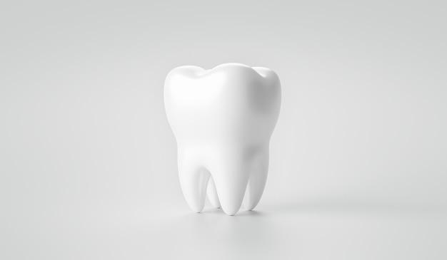 3d-rendering zahn auf weißem hintergrund