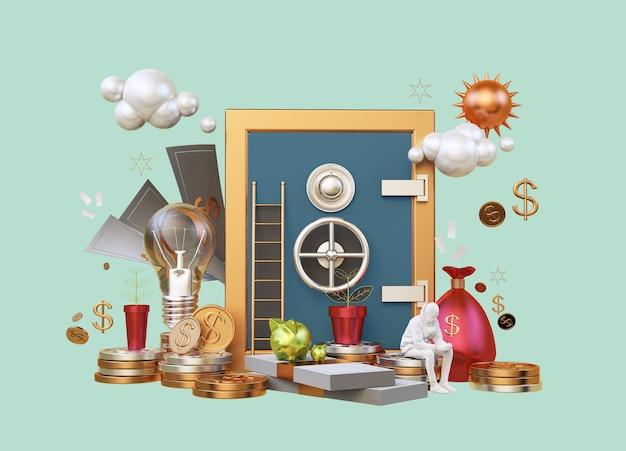 3d-rendering zeigt layout business karrierefinanzierung