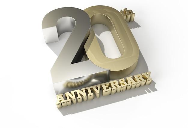3d-rendering zum 20-jährigen jubiläum - stiftwerkzeug erstellt beschneidungspfad in jpeg enthalten einfach zu komponieren.