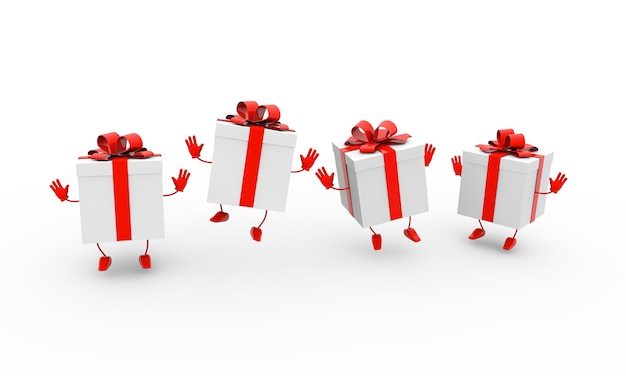 3d-renderingillustration von tanzenden geschenkboxen mit bögen auf weißem hintergrund